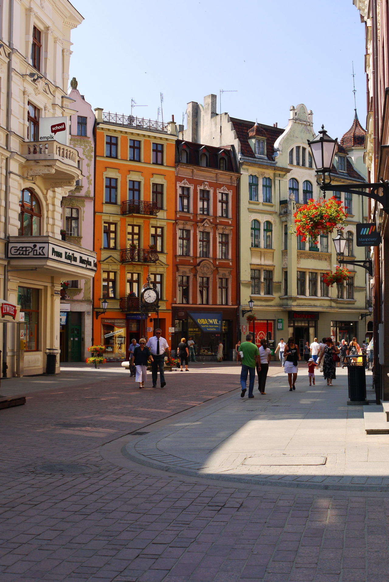 Buildings and shops in the historical centre of Toruń, one of the most beautiful towns in Poland