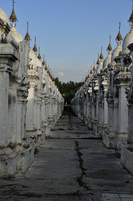 White stupas of the Kuthodaw Pagoda in Mandalay / Myanmar