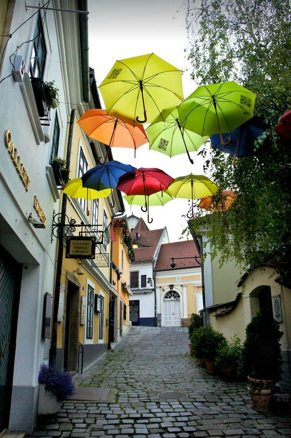 """Street umbrellas in Szentendre / Hungary ."""